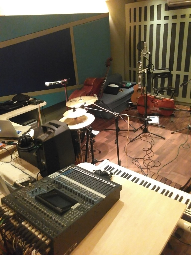 Acoustic instruments: upright double bass, guitar and cello